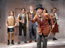 """STUDIO THEATRE'S production of """"Rosencrantz and Guildenstern are Dead"""" features the band of actors who perform the famous """"play within the play"""" of Shakespeare's """"Hamlet,"""" among many other antics. Led by Floyd King in the foreground, they include (left to right) Falls Church's Miles Butler, Theo Hadjimichael, Tim Lueke, Nick Stevens and Dan Istrate. (Courtesy photo)"""