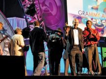 SCOTT SHUMAN (right, holding award) stands on stage after winning a Grammy for Best Traditional Blues Album. (Photo: Anne Dyson)