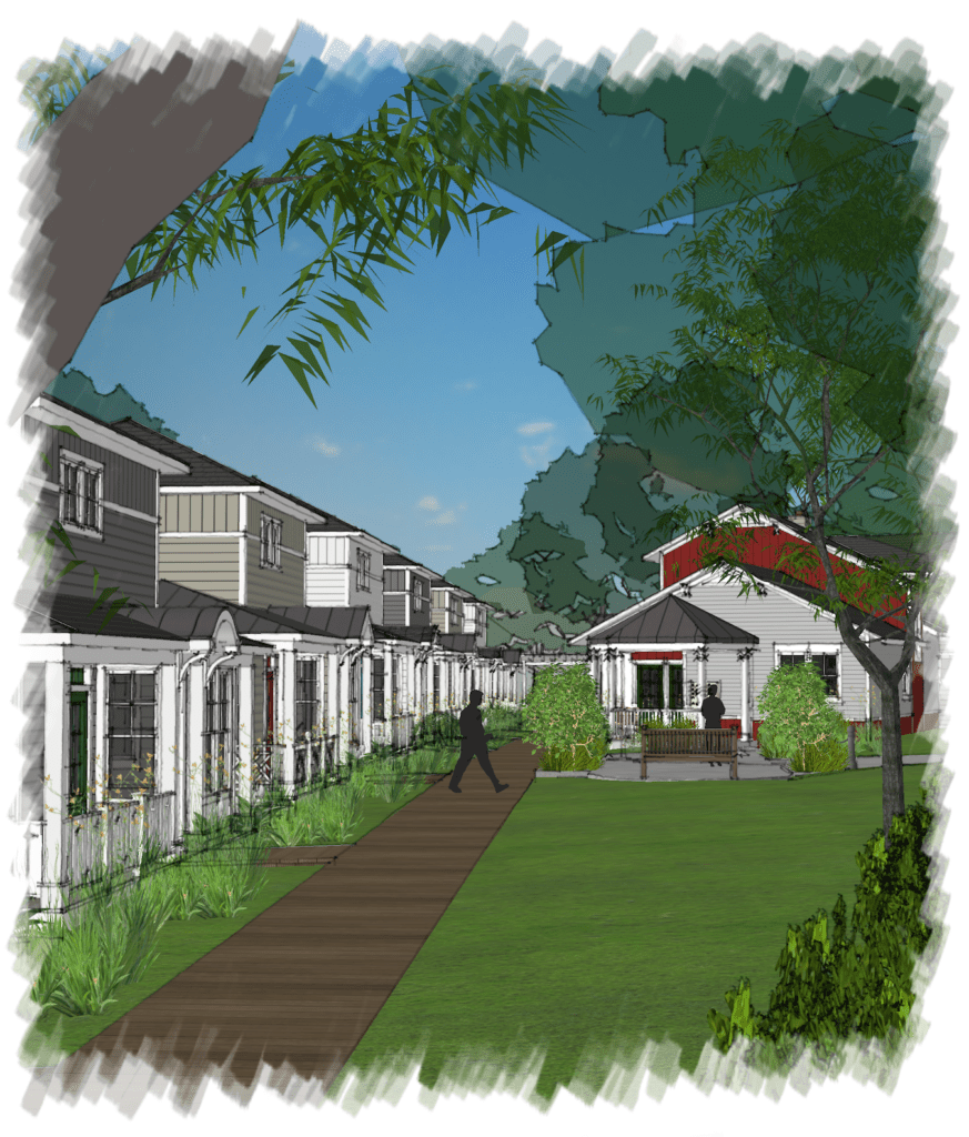 AN ILLUSTRATION of the proposed cottage community for the City of Falls Church. (Illustration: Courtesy The Young Group)